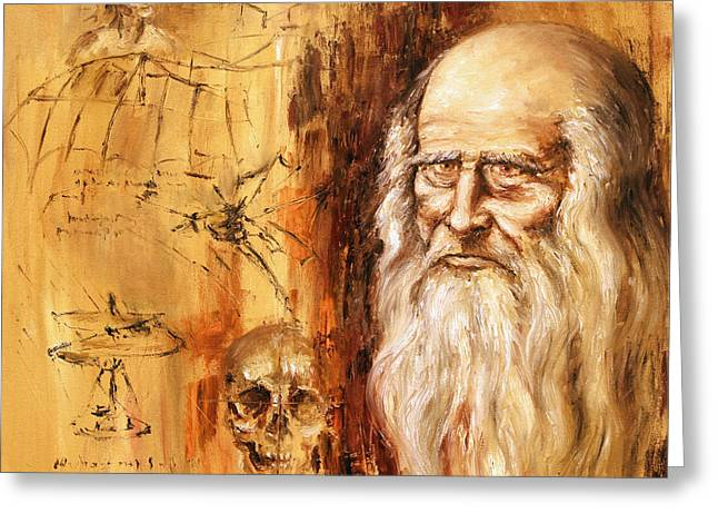 Greeting Card featuring the painting Genius   Leonardo Da Vinci by Arturas Slapsys
