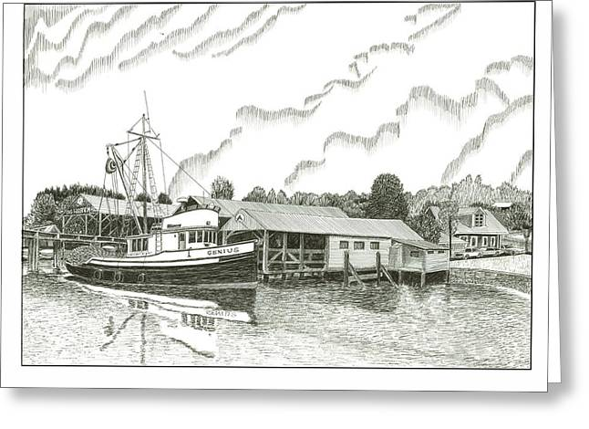 Genius Fishing Trawler Gig Harbor Greeting Card by Jack Pumphrey