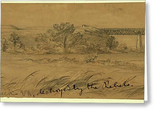Genl. Haupts Bridge Over Potomac Creek Va Greeting Card