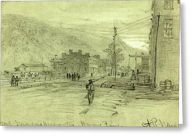 Genl. Stevensons Headqurters, Harpers Ferry, Drawing Greeting Card by Quint Lox
