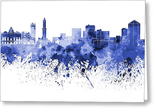 Genoa Skyline In Blue Watercolor On White Background Greeting Card
