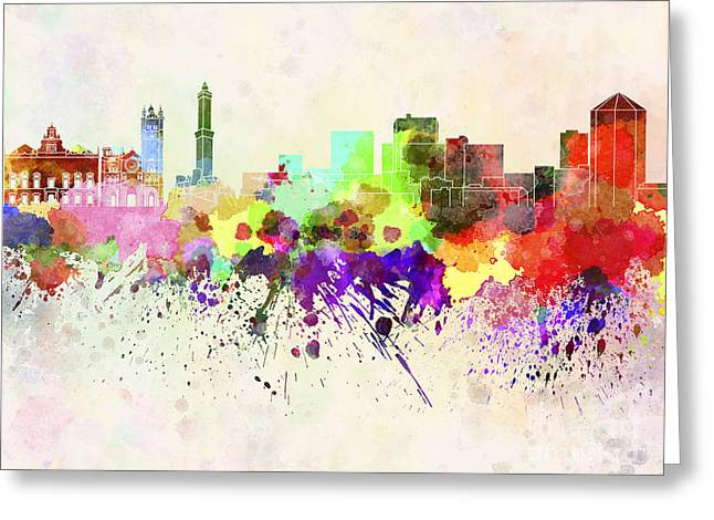 Genoa Skyline In Watercolor Background Greeting Card