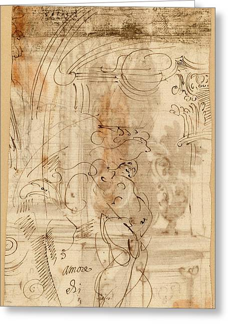 Genoese 17th Century, An Architectural Study With An Greeting Card by Quint Lox