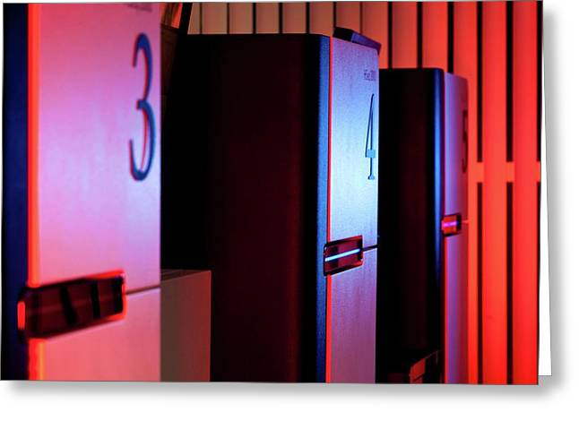 Genome Sequencing Machines Greeting Card by Martin Krzywinski/science Photo Library