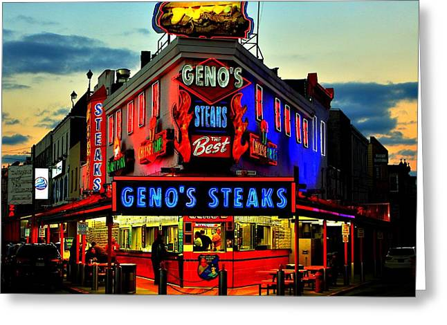 Geno's Steaks Greeting Card by Benjamin Yeager