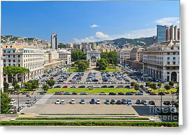Genova - Piazza Della Vittoria Overview Greeting Card by Antonio Scarpi