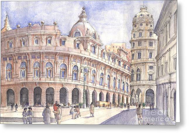 Genova Piazza De Ferrari Greeting Card by Luca Massone