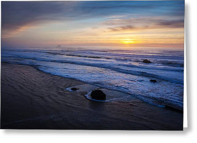 Gentle Evening Waves Greeting Card by Mike Reid