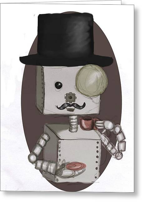 Gentleman Bot Greeting Card by Stacy Parker