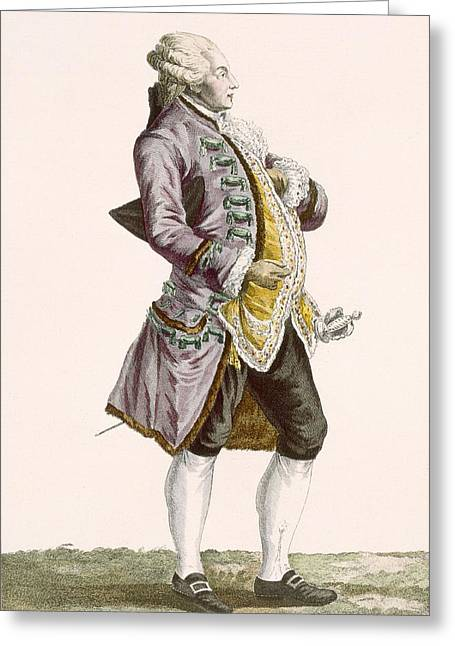 Gentleman In Cullotes And Tailed Greeting Card by Pierre Thomas Le Clerc