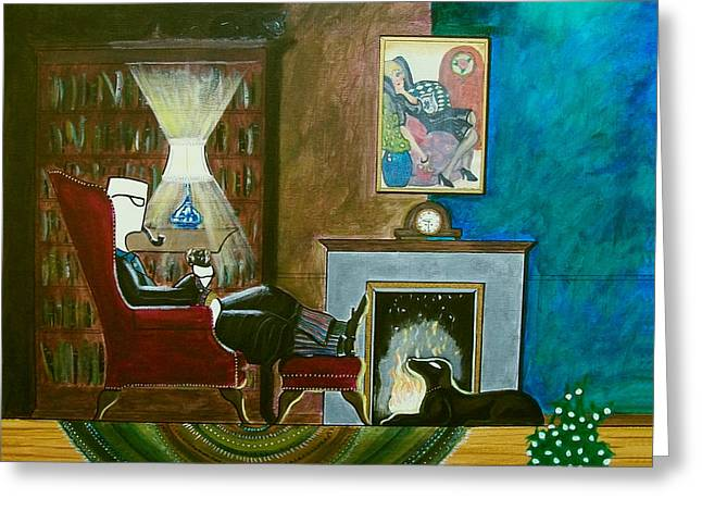 Gentleman Sitting In Wingback Chair Enjoying A Brandy Greeting Card