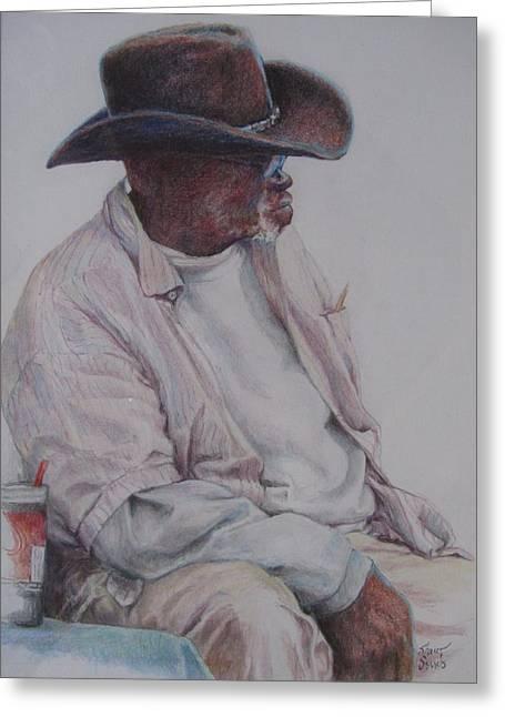 Gentleman Wearing The Dark Hat Greeting Card by Sharon Sorrels