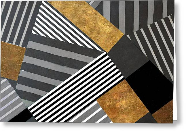 Geo Stripes In Gold And Black II Greeting Card by Lanie Loreth