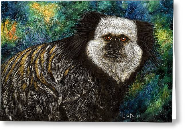 Greeting Card featuring the drawing Geoffrey's Marmoset by Sandra LaFaut