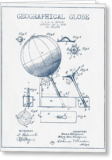 Geographical Globe Patent Drawing From 1894- Blue Ink Greeting Card by Aged Pixel