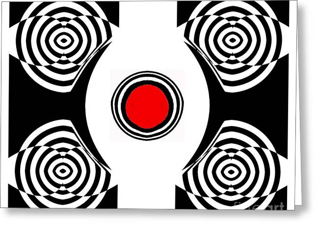 Geometric Abstract Black White Red Art No.400 Greeting Card by Drinka Mercep