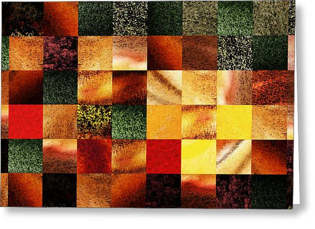 Geometric Abstract Design Sunset Squares Greeting Card by Irina Sztukowski