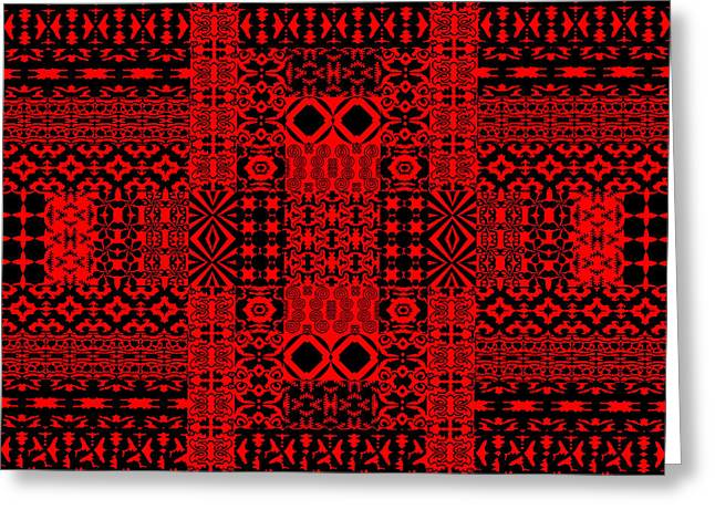 Geometric Abstract In Red Greeting Card