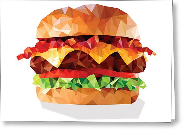 Geometric Bacon Cheeseburger Greeting Card