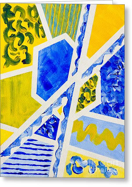 Geometric Blue And Yellow Abstract Acrylic Painting Greeting Card by Beverly Claire Kaiya
