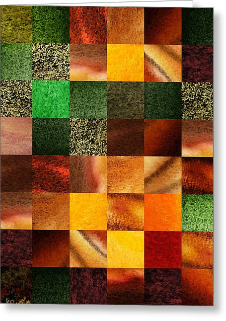 Geometric Design Squares Pattern Abstract IIi  Greeting Card by Irina Sztukowski