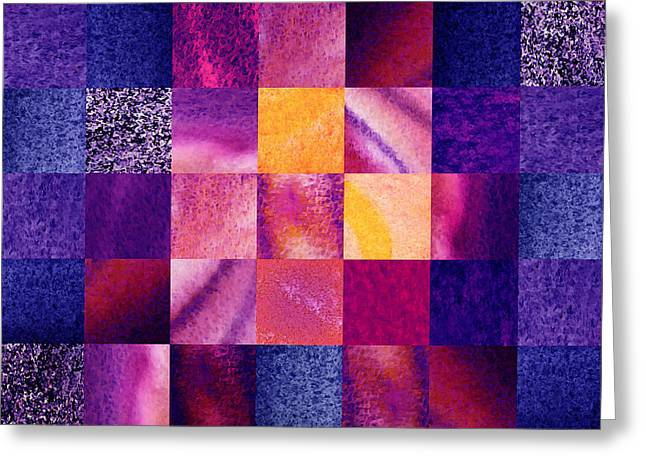 Geometric Design Squares Pattern Abstract Vi  Greeting Card by Irina Sztukowski