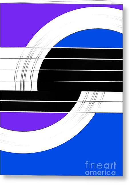 Geometric Guitar Abstract II In Purple Blue Black White Greeting Card by Natalie Kinnear
