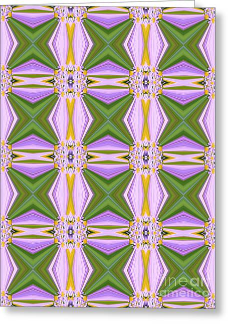 Geometric Lavender Daisies Greeting Card by Beverly Claire Kaiya