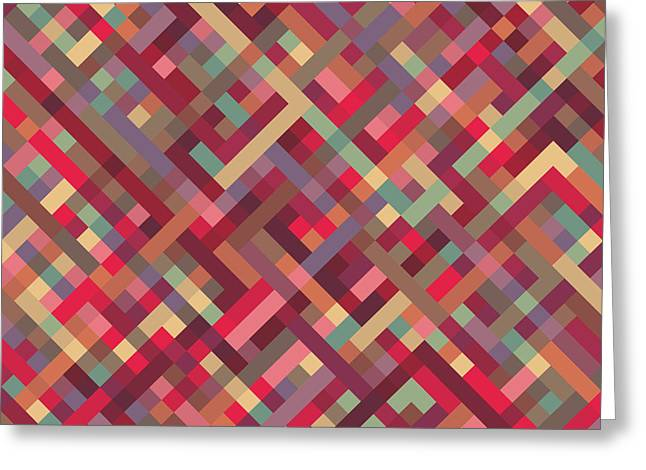 Geometric Lines Greeting Card by Mike Taylor