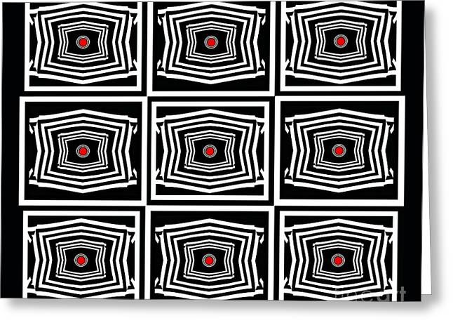 Geometric Op Art Black White Red Digital Abstract Print No.378. Greeting Card by Drinka Mercep