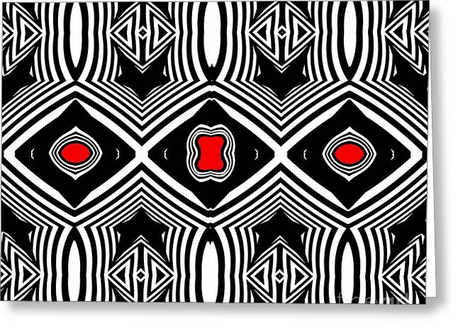 Pattern Black White Red Op Art No.389. Greeting Card by Drinka Mercep