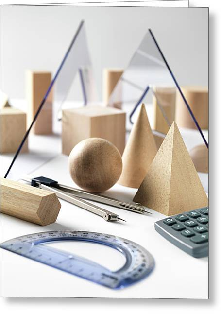 Geometric Shapes And Geometry Set Greeting Card by Tek Image