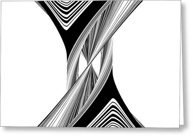 Geometric Twisted Hourglass Black And White Shape  Greeting Card