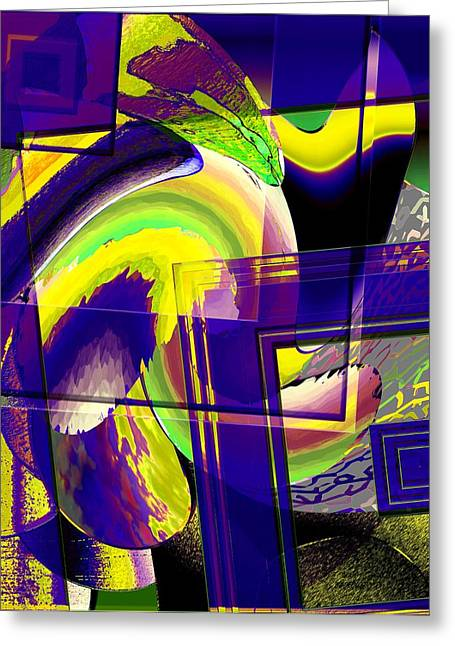 Geometrical Art With Yellow And Lilac Greeting Card by Mario Perez