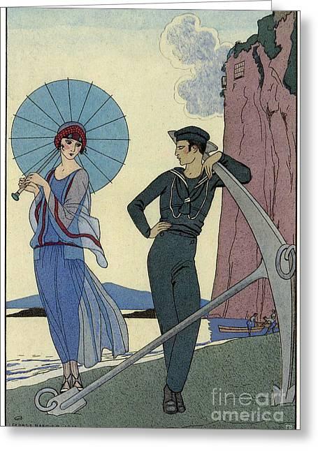 George Barbier Romance Sans Paroles 1922 Sailor Woos Lady On Shore Greeting Card