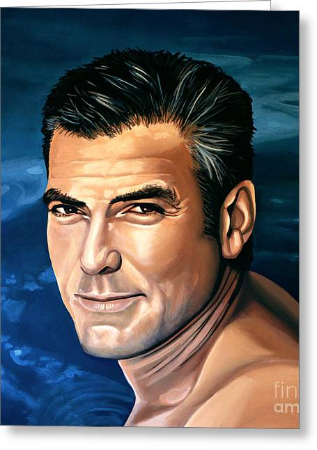 George Clooney 2 Greeting Card by Paul Meijering