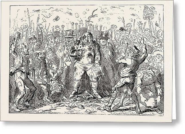 George Cruikshank The Laws Delay Showing The Advantages Greeting Card by English School