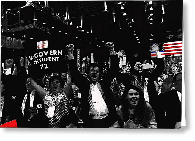 George Mcgovern Supporters Democratic Nat'l Convention Miami Beach Florida 1972 Color Added Greeting Card by David Lee Guss