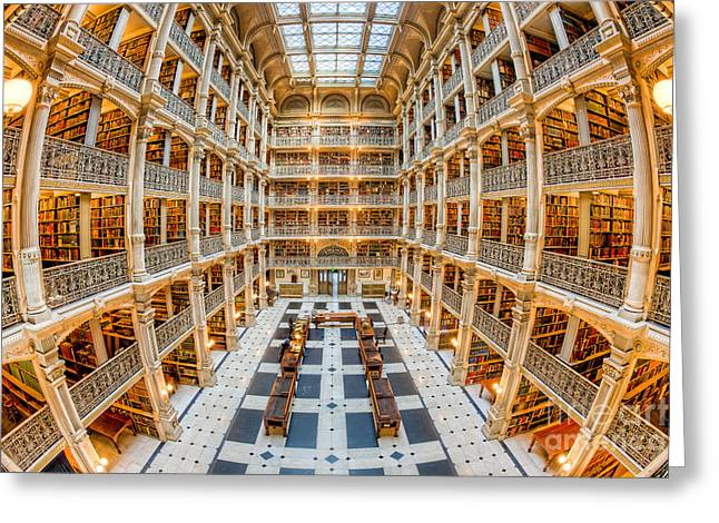 George Peabody Library I Greeting Card by Clarence Holmes