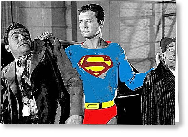George Reeves As Superman In His 1950's Tv Show Apprehending Two Bad Guys 1953-2010 Greeting Card