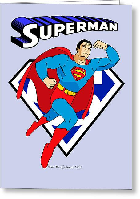 George Reeves Superman Greeting Card by Mista Perez Cartoon Art