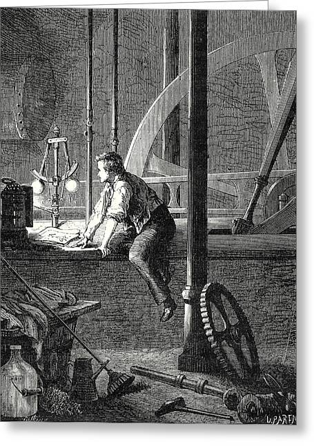 George Stephenson Disassembles And Repairs His Steam Engine Greeting Card