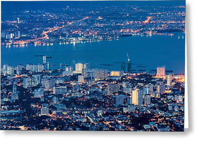 George Town Penang Malaysia Aerial View At Blue Hour Greeting Card