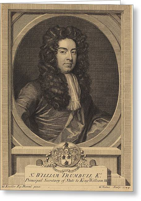 George Vertue After Sir Godfrey Kneller English Greeting Card by Quint Lox