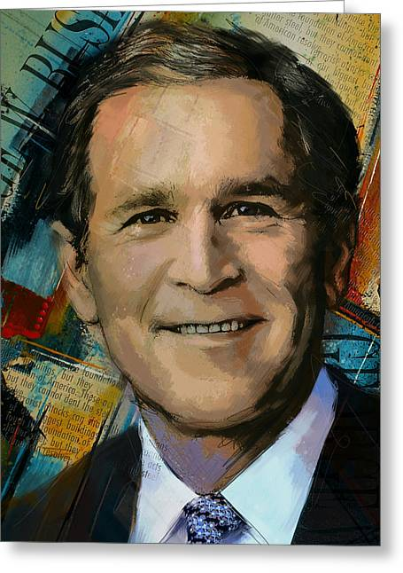 George W. Bush Greeting Card by Corporate Art Task Force