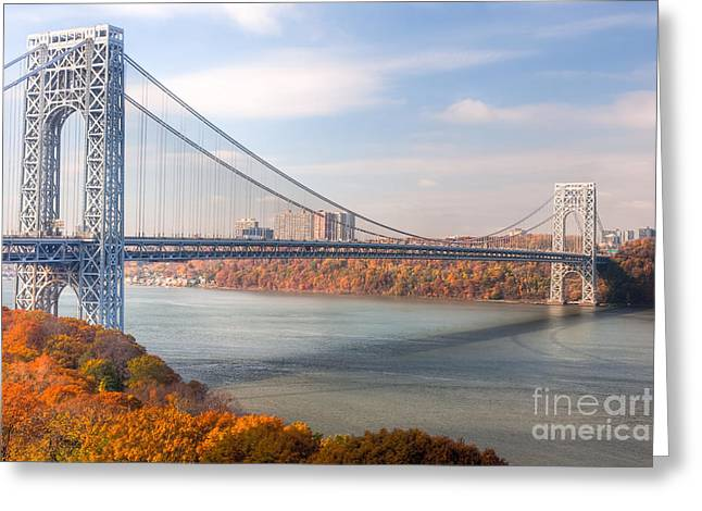 Fort George Greeting Cards - George Washington Bridge Greeting Card by Clarence Holmes