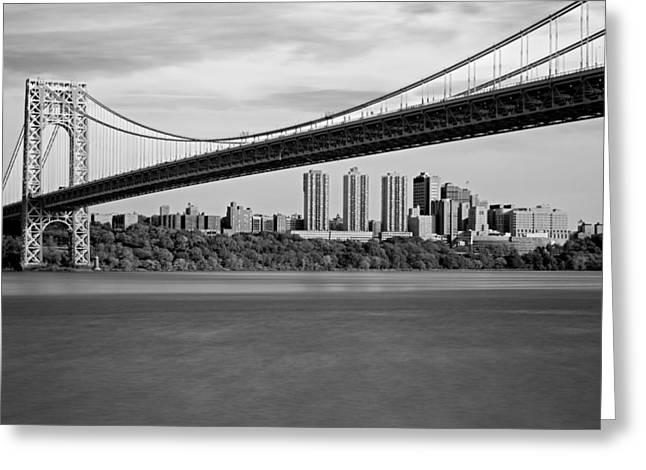 George Washington Bridge In Autumn Bw Greeting Card