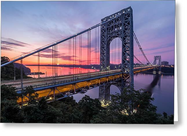George Washington Bridge Greeting Card by Mihai Andritoiu