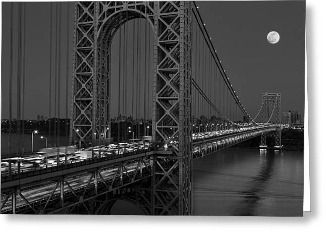 George Washington Bridge Moon Rise Bw Greeting Card by Susan Candelario