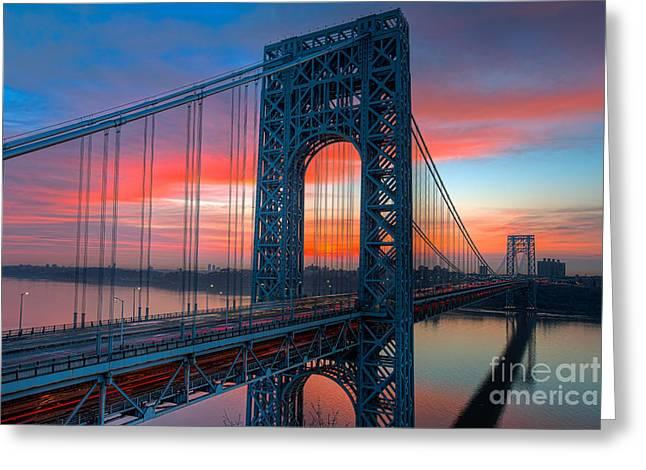 George Washington Bridge Sunrise I Greeting Card